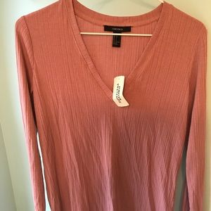Dusty pink deep V-neck long sleeve top NWT